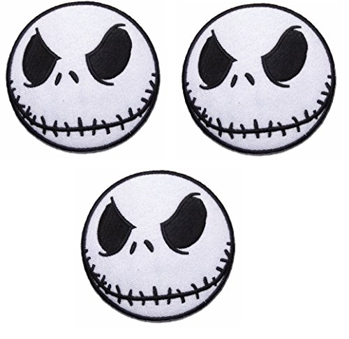 (Nightmare Before Christmas Jack Skellington Head Iron On Set of 3 Patches)