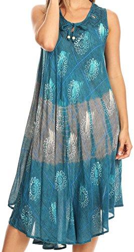 - Sakkas 17112 - Valentina Sleeveless Stonewashed Dress/Cover Up with Embroidery - Turquoise - OS