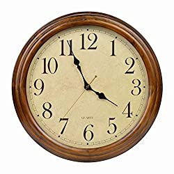 16-Inch Solid Wood Silent Non-Ticking Battery Operated Decorative Wall Clock with Large Arabic Numerals