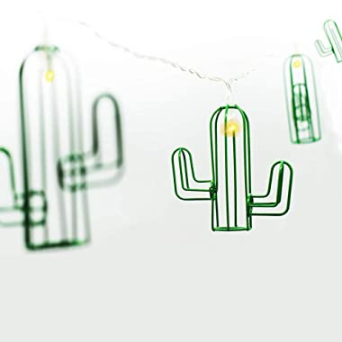 tyoungg Iron Glitter Tropical Cactus String Lights Indoor Party Supplies Christmas Seasonal Decor 1.5 Meter 10 LED Battery Powered (1.5)