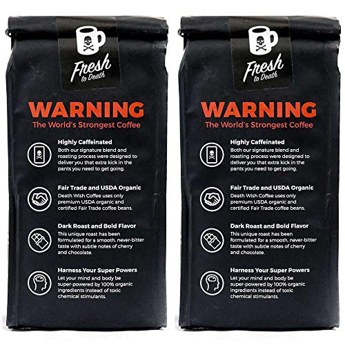 Death Wish Whole Bean Coffee Bundle Deal, The World's Strongest Coffee, Fair Trade and USDA Certified Organic - 2 lb by Death Wish Coffee Co. (Image #1)