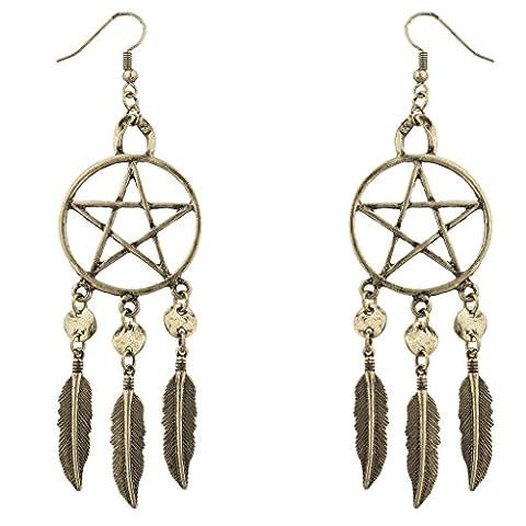 Lux Accessories Burnish Goldtone Pentagram Dream Catcher