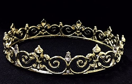 Diamond Gold Crown Prom King Queen Fleur De Lis Mardis Gras Costume Prop Decoration C14