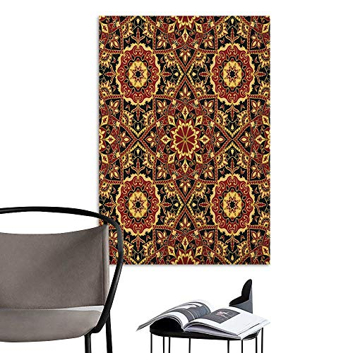 (Self Adhesive Wallpaper for Home Bedroom Decor Turkish Pattern Byzantine Old Ornament in Dark Colors Stylized Medieval Mosaics Ruby Mustard Black 3D Decorative Sticker W8 x H10)