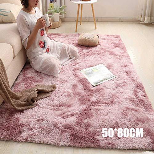 Nicknocks Tapete de piso moderno, tapete de juegos para niños, tapete nórdico, felpa larga, suave, tapete para recámara, sala de estar, Púrpura rosa, 50cmx80cm