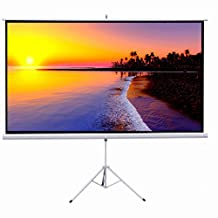"""Projector Screen, Auledio Portable 100"""" Diagonal 16:9 HD Manual Pull Down Video Projection Screen with Tripod Stand - Suitable for HDTV / Sports / Movies / Presentations"""