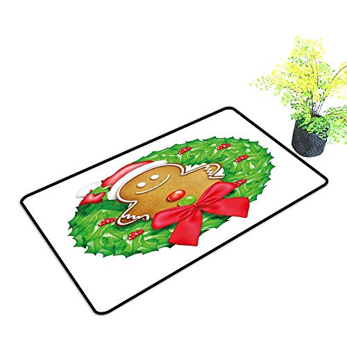 Zmstroy Interior Door mat Gingerbread Man Cartoon Christmas Wreath with Gingerbread Man Funny Happy Season W24 xL35 Easy to Clean Carpet Green Red Light Brown]()