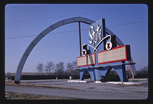 16 x 24 Gallery Wrapped Framed Art Canvas Print of State Drive-in Theater Sign, Closer View, Route 24, State Avenue, Kansas City, Kansas 1994 Roadside Americana Ready to Hang ()