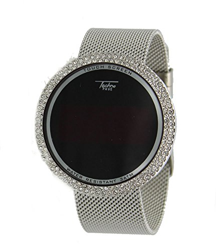 Techno Pave Iced Out Bling Lab Diamond Silver Tone Digital Touch Screen Sports Smart Watch Mesh Band