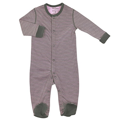 Kushies Pink Grey Striped Baby Girl Newborn Footie Footed Pajamas One Piece 1 Mth