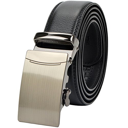 Dark Brown Leather Buckle (Men's Leather Ratchet Dress Belt With 1 3/8