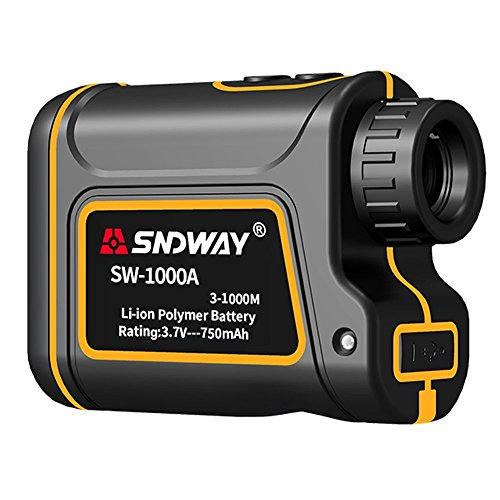 2018 Upgraded Edition SNDWAY Laser Range Finder 1093 yards 7X Optical Zoom Golf Rangefinder Distance/Height/Speed/Angle Measurement Built-in 710mAh Lithium Battery for Hunting/Golf/Outdoor (710 Mah Lithium Battery)