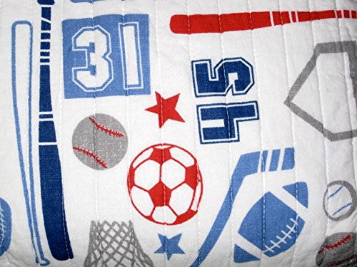 Max Studio Kids Reversible SPORTS FULL/QUEEN Quilt - hockey, baseball, football, basketball, soccer by Max Studio Kids