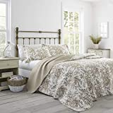 Laura Ashley Home Bedford Cotton Reversible Quilt, King, Mocha