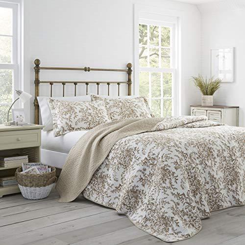 (Laura Ashley Bedford Cotton Reversible Quilt, Full/Queen, Mocha)