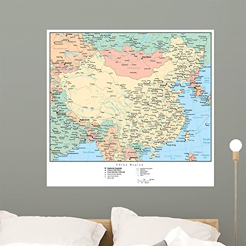 Wallmonkeys GEN-12579-36 WM303133 Map of China Peel and Stick Wall Decals (36 in W x 34 in H), Large
