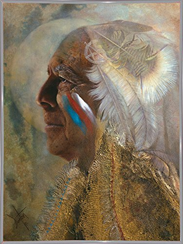 Frame USA Wicasa Wakan (the Holy Man) Framed Print 42.5''x31.5'' by Denton Lund, 42.5x31.5, Metal Frame White by Frame USA