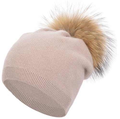 Cashmere Blend Cable Knit - Women's Winter Warm Double-Deck Cashmere Wool Blend Real Fur Pom Pom Slouchy Knit Beanie Cap Ski Hat (Dirty Pink)