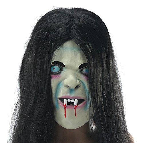 Hitommy Latex Scary Long Hair Halloween Full Face Masks SADAKO Hallowmas Ghost -