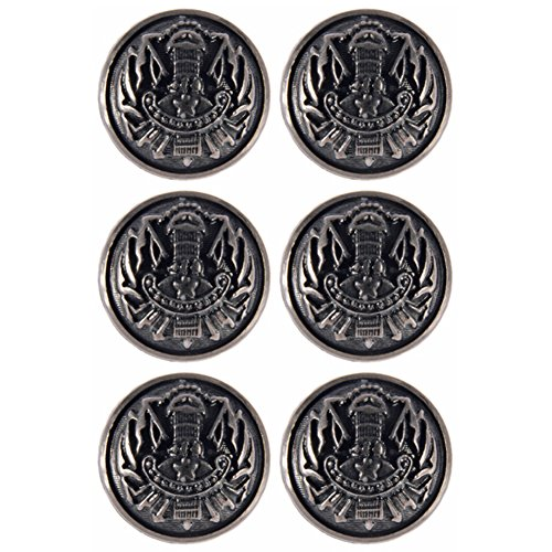 Mibo ABS Metal Plated Military Shank Button Raised Dome with Regimental Emblem 44 Line Antique Nickel 6 Pack (Plated Raised Silver)
