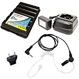 Yaesu/Vertex VX-400 Battery + Charger + Listen Only FBI Listen Only Earpiece + EU Adapter - Replacement for Yaesu/Vertex FNB-83 Two-Way Radio (1600mAh, 7.2V, NIMH)