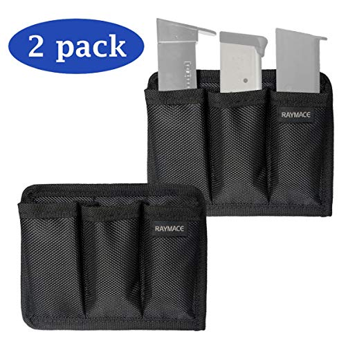 RAYMACE Triple Magazine Pouch with Melt Adhensive Velcro, Pistol Mag Holder Indoor Gun Safe Accessory