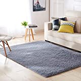 Aicehome Area Rug,Soft Bedroom Rug,Fluffy Thicken Anti-slip Bottom for Home Dining Room Bedroom,Shag Plush Children Kids Nursery Rugs Floor Carpet 4 Feet by 5.3 Feet (Gray)