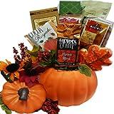 Art of Appreciation Gift Baskets  Fall Harvest Ceramic Pumpkin Gourmet Food Gift Basket