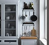 Floating Kitchen Shelf Spice Rack With 12 Hooks for Hanging Utensil Storage Steel Glossy Black Set of 2