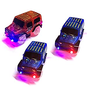 TSLIKANDO Car Track Replacement Toy Car (3 Pack) Glow in The Dark Racing Track Accessories Compatible Most Tracks Including Magic Tracks, Boys Girls