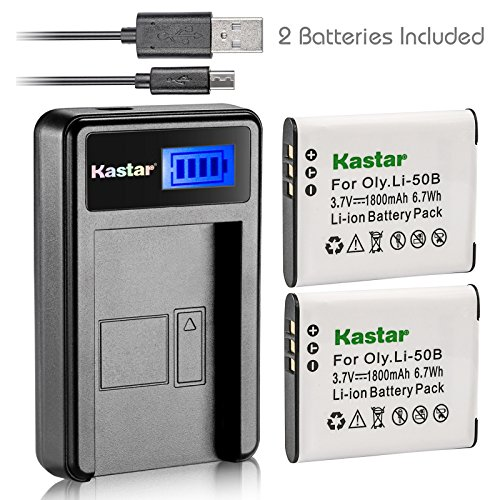 Kastar Battery (X2) & LCD USB Charger for Olympus LI-50B, LI-50C, Pentax D-LI92, DLI92, Panasonic VW-VBX090 and Olympus Stylus,Tough Series, Pentax Optio Series, Panasonic HX-WA03 WA2 WA20 WA3 WA301
