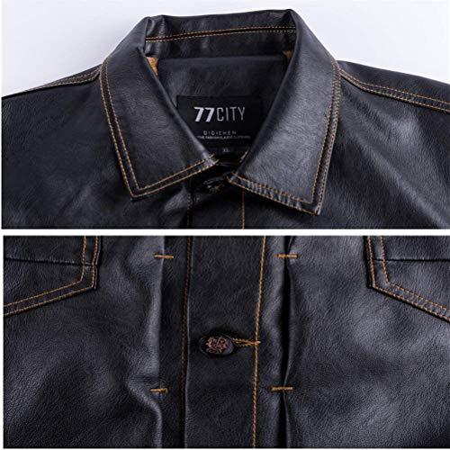 Abbigliamento Nera Pelle Uomo Da Sintetica Giacca Retrò Braun Inverno Pelliccia Autunno In Z7Yn0