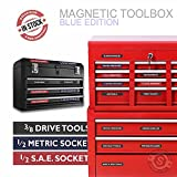 "Steellabels - ""Magnetic"" Tool Box Organizer Labels (blue edition) organize boxes, drawers & cabinets ""Quick & Easy"", fits all brands of 'Steel' tool chest Craftsman, Snap-on, Mac"