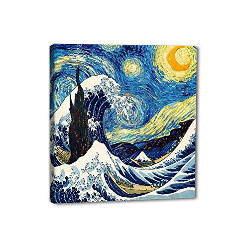 Square Canvas Wall Art - Reproduction Famous Oil Painting- Combination of The Great Wave and The Starry Night- Print Gallery Wrap Modern Home Decor Ready to Hang - 12 x 12 inches x 1 Pannel