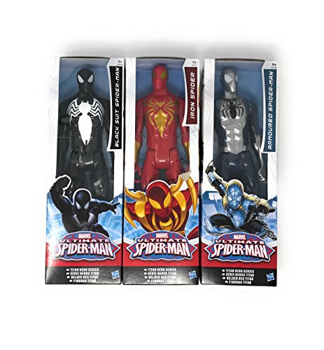 Marvel Death Costume (3 LOT Marvel Titan Hero Series Ultimate Spider-Man Movie Spiderman Series Iron Spider, Black Suit Spider Man and Armoured Spiderman size12 inch)