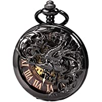 Treeweto Antique Dragon Mechanical Skeleton Pocket Watch with Chain (Black Brown)