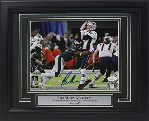 Brandon Graham Signed Framed 8x10 Eagles Super Bowl 52 Tom Brady Strip Sack Photo JSA