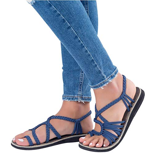 ORANDESIGNE Donna Infradito Spiaggia Intrecciato Eleganti Sandali Sandals Estivi Shoes Basso Blu Tacco Scarpe Casuale rrCwq1nP5