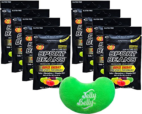 Jelly Belly Jelly Beans Jelly Belly Sports Beans Assorted Quick Energy from Caffeine and Electrolytes, Gluten Free 1 Ounce Bags (Pack of 8) - with Jelly Belly Emoji Mini Plush Toy