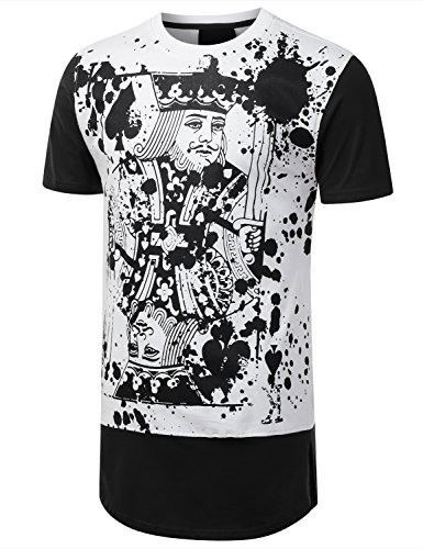 URBANCREWS Mens Hipster Hip Hop King Card Longline Crewneck T-shirt