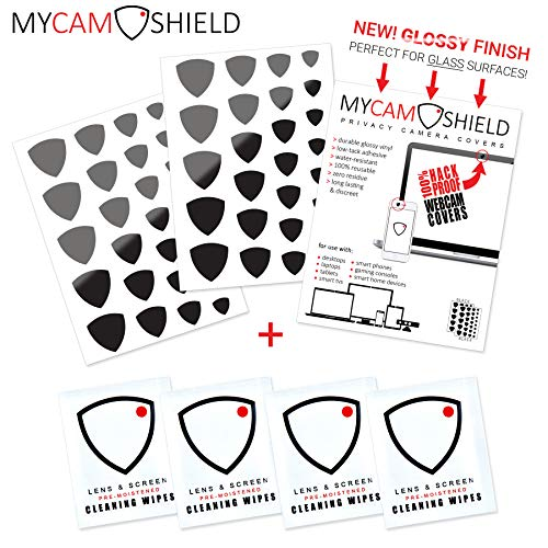MyCamShield   Black (Glossy)   52 Vinyl Webcam/Camera Covers   Removable/Reusable   for Laptops, Desktops, Smartphones, Tablets, Smart TVs, Smart Home Devices   Includes 4 Lens/Screen Cleaning Wipes