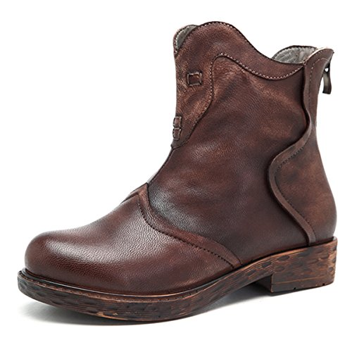 Leather Handmade Boots (socofy Leather Ankle Bootie, Women's Vintage Handmade Fashion Leather Boot Retro Splicing Ankle Shoes Oxford Boots Coffee 5 B(M) US)