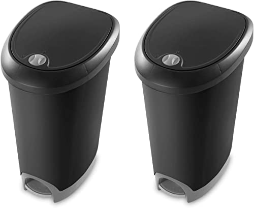 Sterilite-12.6-Gallon-Locking-Lid-Step-On-Kitchen-Wastebasket-Trashcan
