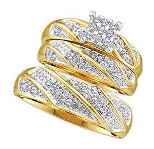 0.3 cttw 10k Yellow Gold Diamond Trio Bridal Sets His and Hers Wedding Ring Sets (Sizes 5-11)