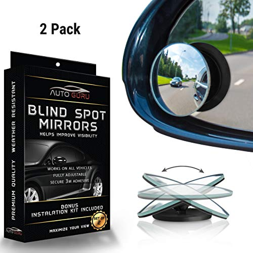 Blind Spot Mirror for Cars, SUV & Trucks-Universal 360 Degree Rear Panoramic Driver Safety View, Adjustable Wide Angle, Frameless, Self Adhesive, Waterproof + Installation Guide | 2 Pack by Auto Guru
