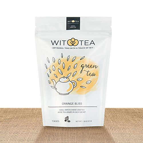 Artisanal Small Batch 15 Green Tea Bags - Orange Bliss - Premium Unblended Green Tea Leaves in Hand Crafted Biodegradable Silk Pyramid Sachets - 15 tea sachets - by WitTea