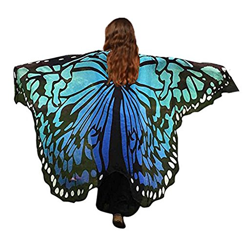 HITOP Women Soft Chiffon Halloween Party Butterfly Wings Shawl Festival Wear Dress Up Cape (Black/Blue) (Dress Up Womens)