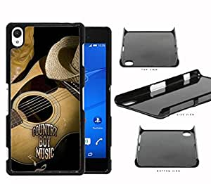 Country Boy Music with Acoustic Guitar and Cowboy Boots and Hat Sony Xperia Z2 Hard Snap on Plastic Cell Phone Case Cover