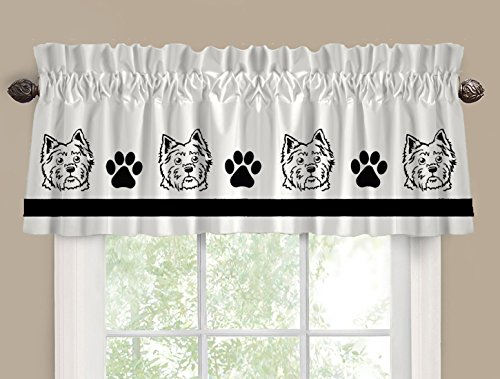 West Highland White Terrier Westie Dog Cutie Face Window Valance / Window Treatment - In Your Choice of Colors - Custom Made
