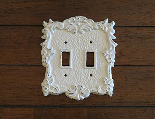 Antique White Switch Plate/Double Light Switch Plate/Antique